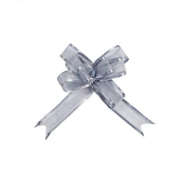 Ziehschleifen Geschenkschleifen silbergrau 8cm x 4,5cm aus Organza mit Satinkante 5 Stück