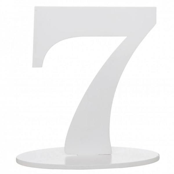 XXL Tischdeko Tisch-Zahl 7 aus Holz in Weiß Geburtstag 1 Stück