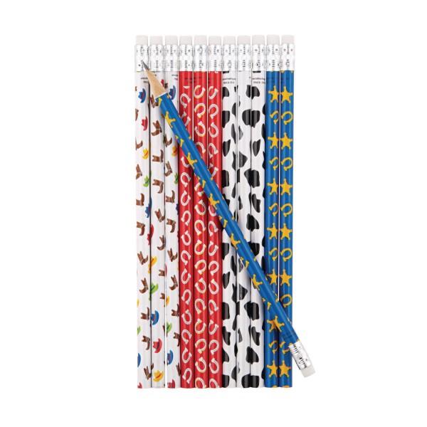 Cowboy Bleistifte mit Radiergummi 12 Stück