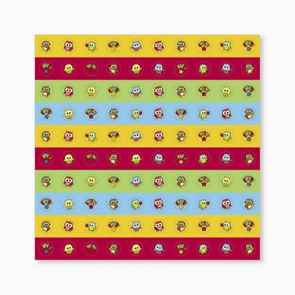 Eule bunt und lustig mini Aufkleber Sticker 800 Stück