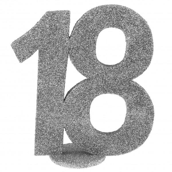 XXL Tischdeko Zahl 18 Geburtstag Silber Glitzer 1 Stück
