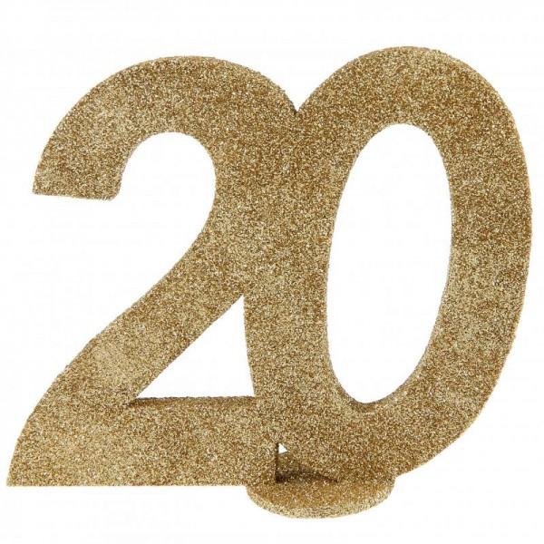 XXL Tischdeko Zahl 20 Geburtstag Gold Glitzer 1 Stück