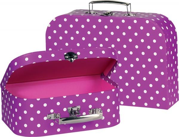 Kinderkoffer Spielkoffer lila mit weißen Punkten 2 Stück