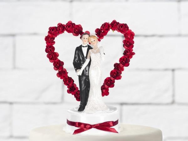 Hochzeitsfigur Brautpaar Tortendeko mit Rosenherz rot