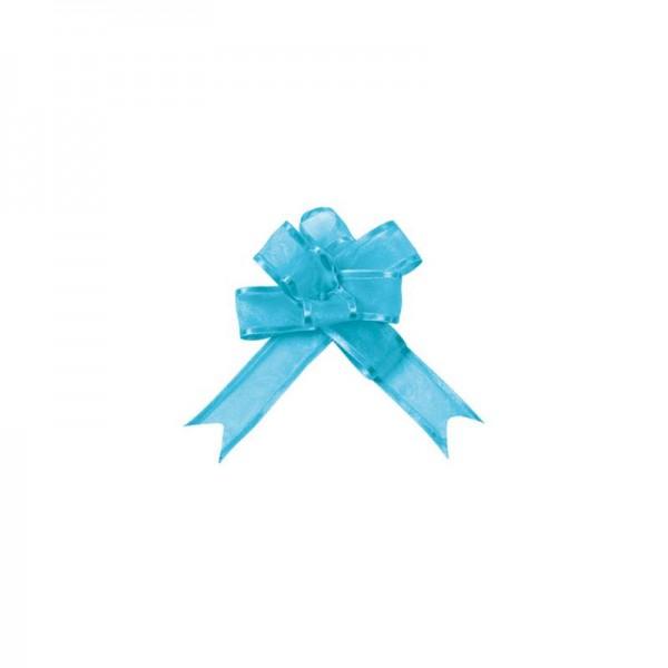 Ziehschleifen Geschenkschleifen türkis 14cm x 10cm aus Organza mit Satinkante 5 Stück