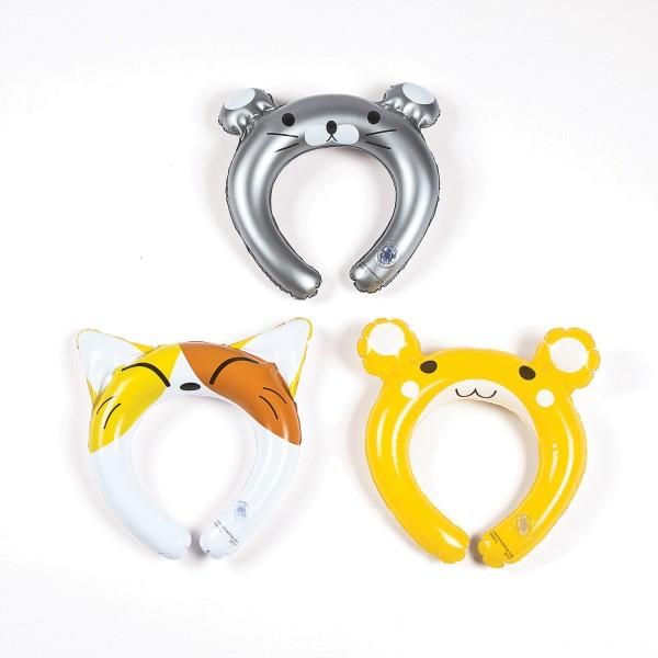 Aufblasbare Tiaras mit lustigen Tiermotiven 3 Stück