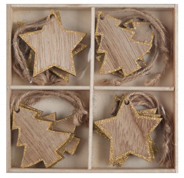 Weihnachtsdeko Platzkarte Namensschild Geschenkanhänger aus Holz mit Gold Glitter