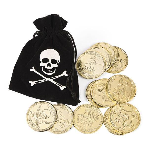 Piraten Goldsack mit Goldstücken Goldbeutel 12 Stück
