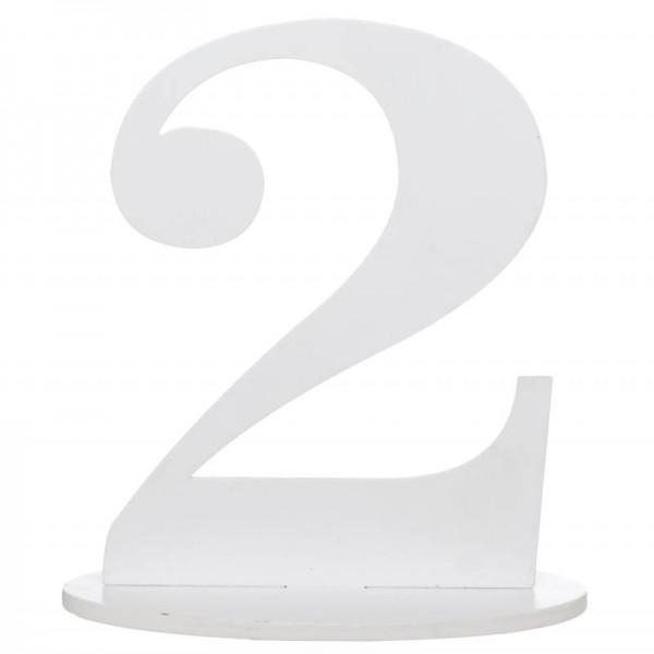 xxl tischdeko tisch zahl 2 aus holz in wei geburtstag 1. Black Bedroom Furniture Sets. Home Design Ideas