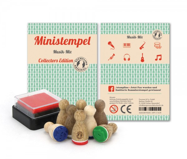 Holz-Stempel Musik Mix 8 Stück mini