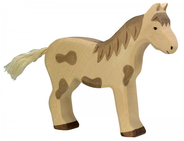 Holztiger Pferd stehend gefleckt Holzfigur