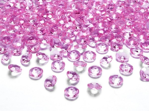 Dekosteine Diamanten pink 100 Stück 12mm Durchmesser
