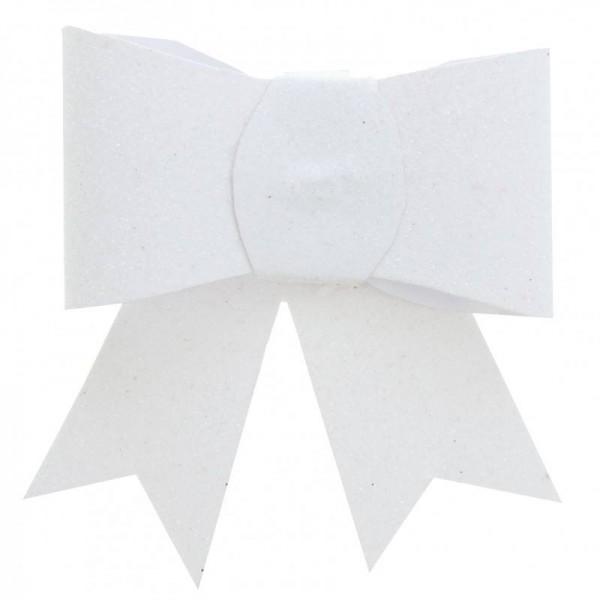 Schleife Glitzer Weiß mit Klammer für Hochzeit Tischdeko 2 Stück