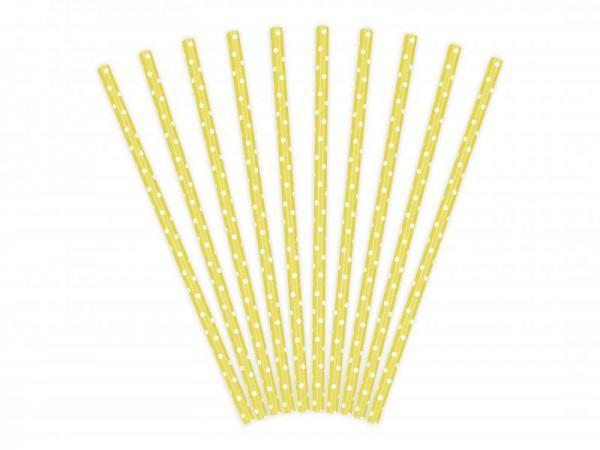 Trinkhalme Gelb mit weißen Punkten aus Pappe Strohhalme 10 Stück