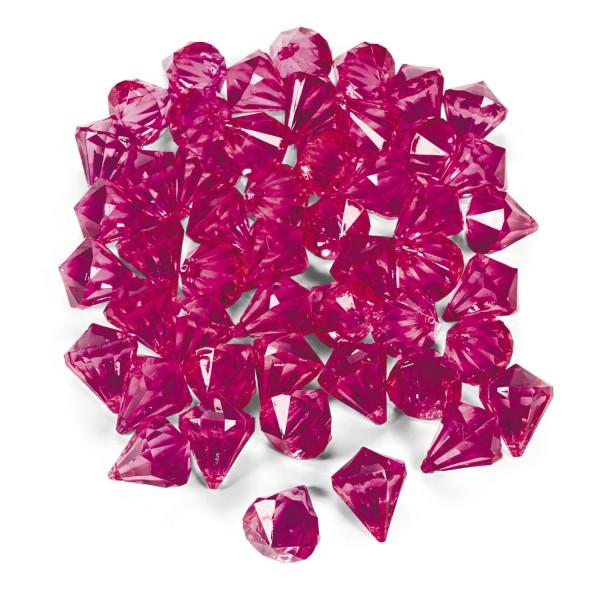 Dekosteine Diamanten aus Plastik Pink Magenta Tischdeko Streuteile 25 Stück