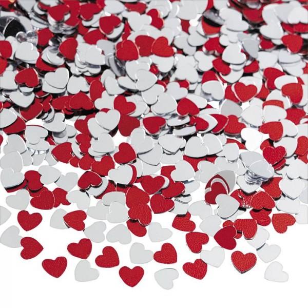 Konfetti Hochzeit Herzen Rot Silber Folienkonfetti 56 Gramm