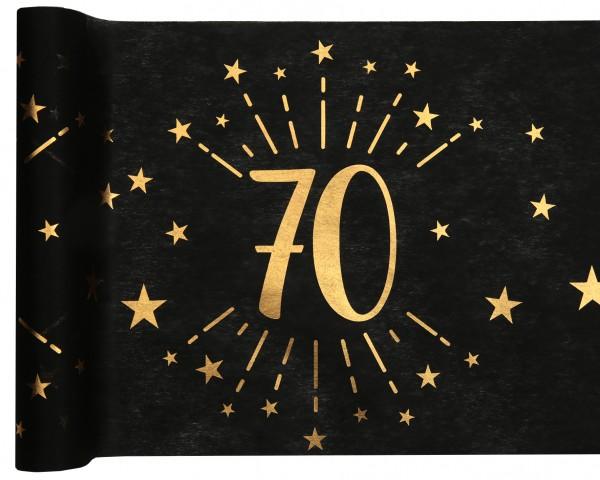 Tischläufer Vlies schwarz mit Zahl 70 Gold 5m Geburtstag