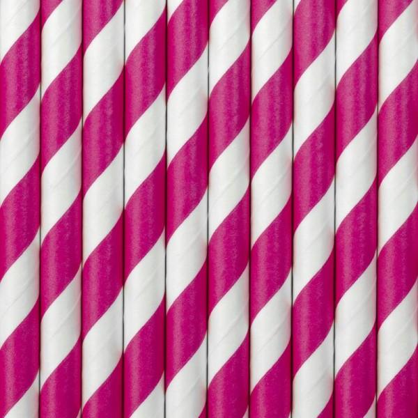 Trinkhalme Pink und Weiß gestreift Pappe Strohhalme 10 Stück