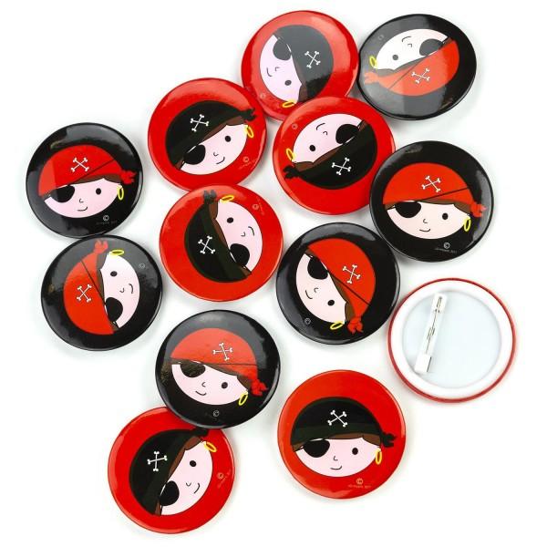 Piraten Button Pin Anstecker 12 Stück