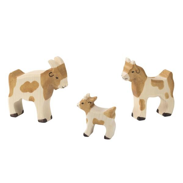Holztiger Ziege Ziegenbock und Zicklein Set mit 3 Holzfiguren