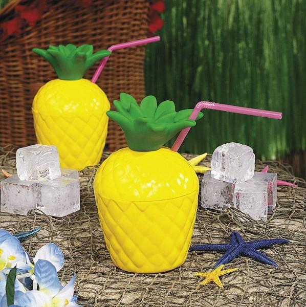 Ananas Trinkflasche für Beachparty Hawaii Hula Aloha Party 6 Stück