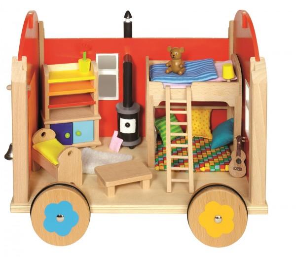 Puppenhaus Puppenstube Bauwagen mit Einrichtung von goki