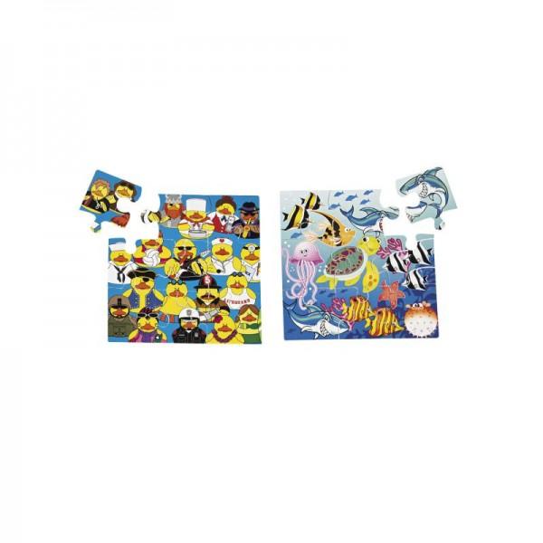 Puzzle mit 4 verschiedenen Motiven Smileys Monster Gummienten Fische 12 Stück