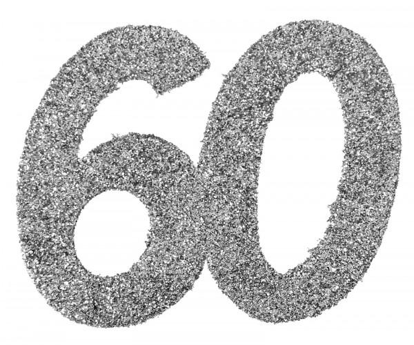 """XXL Geburtstags Konfetti Zahl""""60"""" silber glitzernd 6 Stück"""