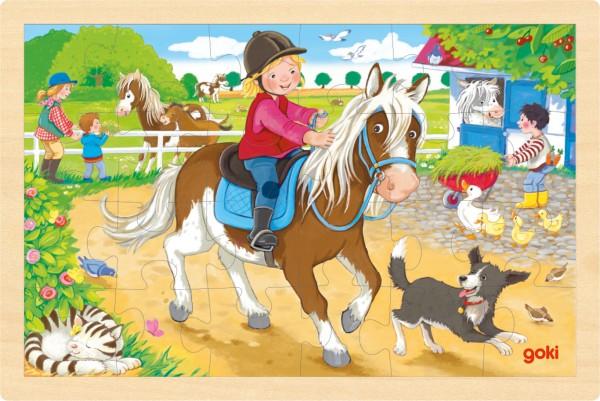Einlegepuzzle Ponyhof Puzzle aus Holz von goki 24 Teile