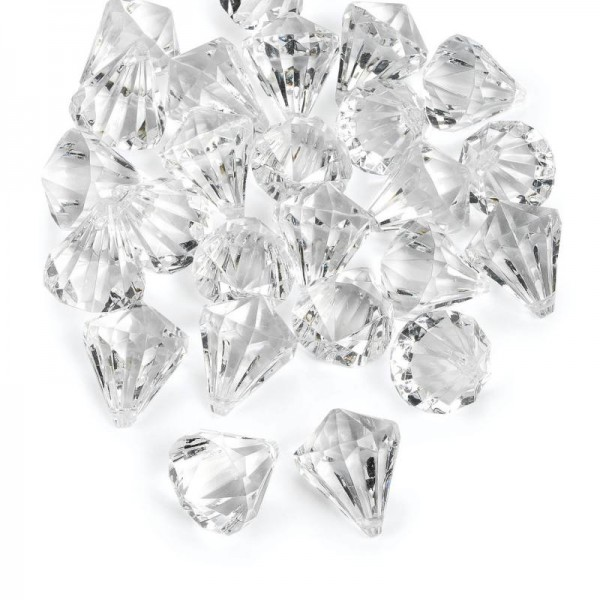 Dekosteine Diamanten aus Kunststoff transparent Tischdeko Streuteile 25 Stück
