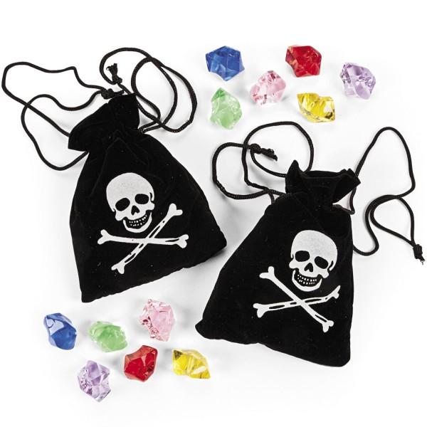 Piraten Schatzbeutel mit Edelsteinen Diamanten 3 Beutel