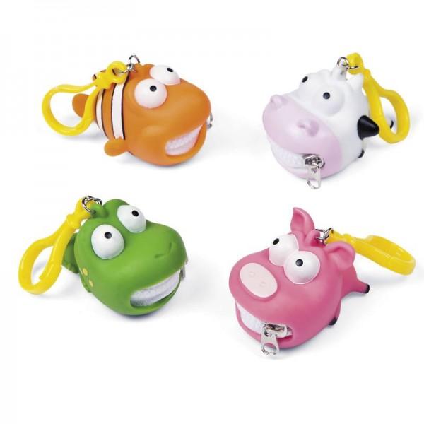 Schlüsselanhänger mit Reißverschluss Schwein Frosch Kuh Clownfisch 4 Stück