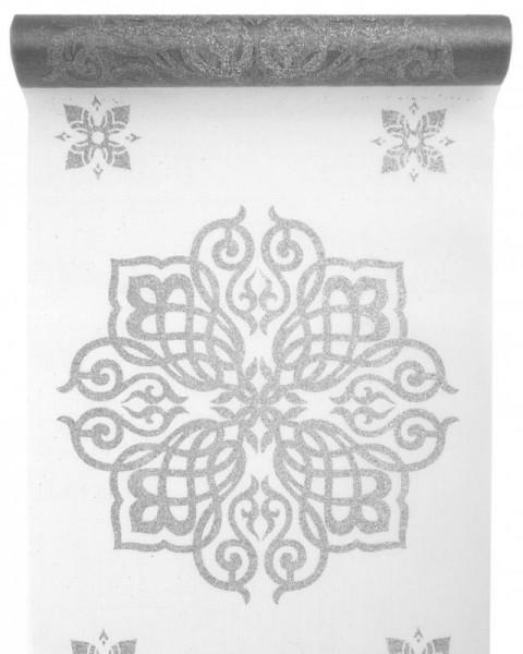 Tischläufer Oriental silber glitzer 5 Meter Rolle
